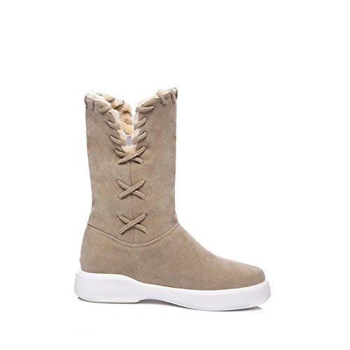 vello Stivali Mid stivaletti Black donna Boots Snow Fall Scarpe per stivaletti HSXZ mandorla Stivali Winter stivali Calf Flat Fashion Round casual abbigliamento Toe qEwzfOx