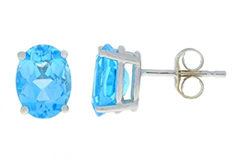 14Kt White Gold Simulated Blue Topaz Oval 8x6mm Stud