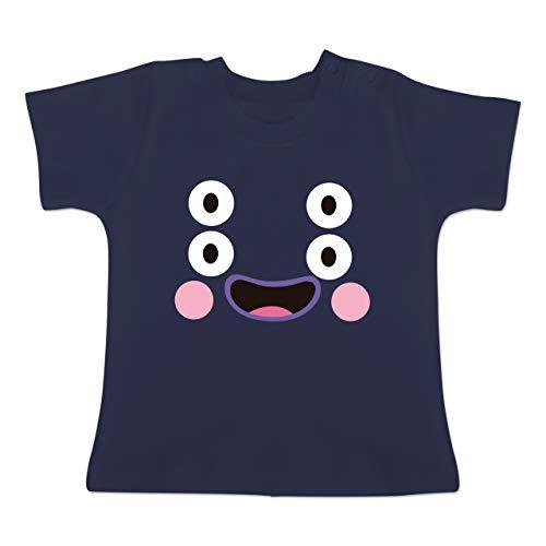 Baby Kostüm Monster Blau - Karneval und Fasching Baby - Monster Kostüm Karneval - 1-3 Monate - Navy Blau - BZ02 - Baby T-Shirt Kurzarm