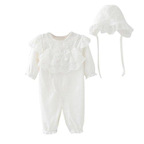 Omiky® Neugeborenes Säuglingsbaby-Kind-Mädchen-Kappen-Hut + Spitze-Spielanzug-Overall-Kleidungs-gesetztes Outfit (70/12Monat, Weiß) Winter Hüte Für Teenager