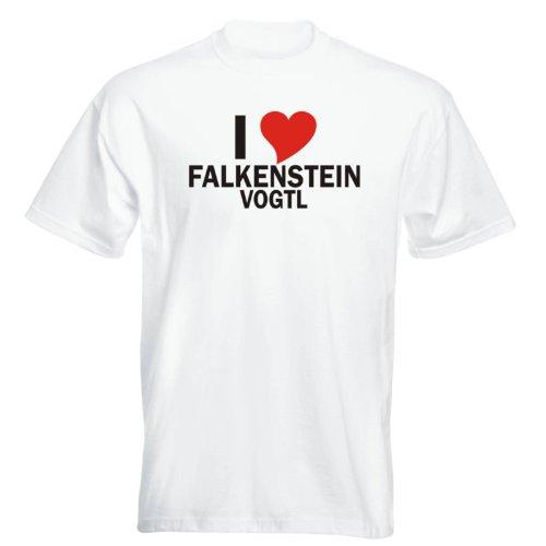 T-Shirt mit Städtenamen - i Love Falkenstein/Vogtl - Herren - unisex Weiß