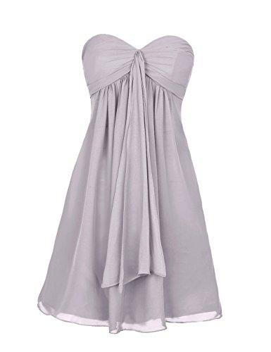 Dresstells, robe courte de demoiselle d'honneur mousseline sans bretelles col en cœur Rose