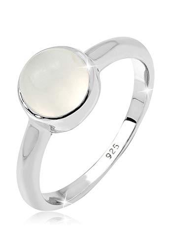Elli Damen Schmuck Ring Bandring Silber 925 Mondstein Edelstein Klassisch Stein Größen 52 54 56 58