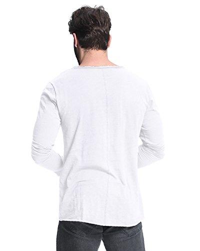 MODCHOK Herren Shirt Einfarbig Langarmshirt Langärmelig Fit Freizeit T-Shirt Hemd Weiß