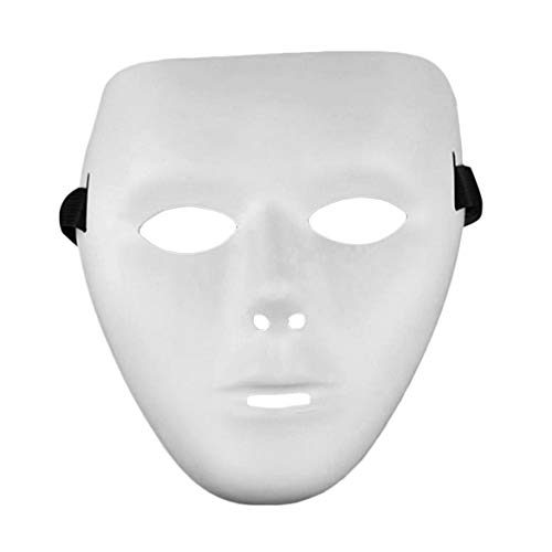 JohnJohnsen Cosplay Halloween Festival White Mask PVC Party Toy Unico Full Face Dance Costume maschera per uomini Donne per Regalo (Bianco)
