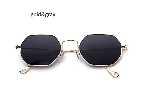 ZHANGYUSEN Fashion Small Hexagonal Square Sunglasses Women New Brand Designer Men Vintage Metal Frame Mirror Sun Glasses Female,Gold Gray