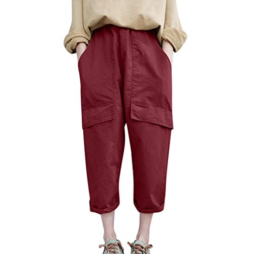 WOZOW Harem Pants Damen Capri Bettwäsche Baumwolle Hippie Solid Einfarbig Bloomers Pockets Casual Loose Long High Waist Saggy Crop Trousers (M,Rot) Knit Harem Pants