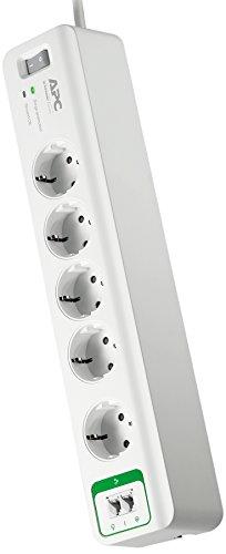 APC Surge Protector - Steckdosenleiste mit Überspannungsschutz - 5-Fach Stecker Schuko, schaltbar, 2 Telefon-Schutz-Ausgänge - Farbe: Weiß - PM5T-GR