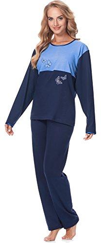 Merry Style Damen Schlafanzug MSDR5004 Dunkelblau/Blau