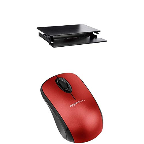 Set AMAZONBASICS HEIGHT ADJUSTABLE STANDING DESK CONVERTER WITH KEYBOARD TRAY + AMAZONBASICS WIRELESS MOUSE WITH NANO RECEIVER - RED - Stand Adjustable Keyboard Tray