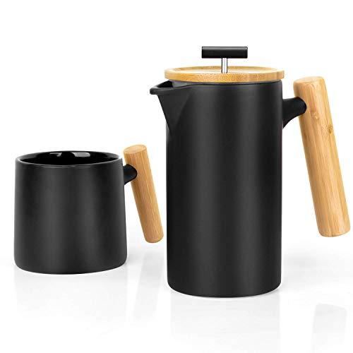 Cmbyn Keramik French Press/Kaffeepresse/Kaffeebereiter/Teebereiter/Kaffeezubereiter/Kaffeekanne (groß, 700ml)   mit Kaffeetasse (Press Große Keramik-french)