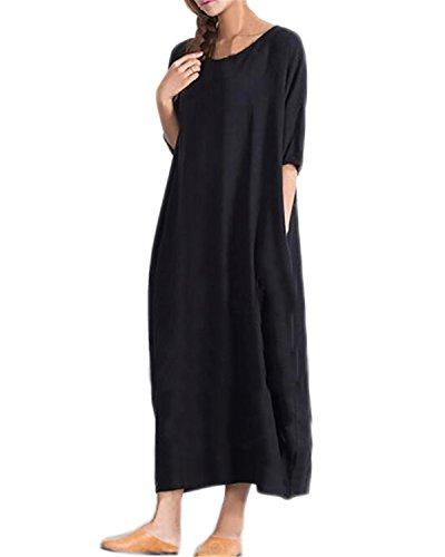 Kidsform Femme Maxi Robes Grande Taille Lâche Bohème Manche Courte Boho de Plage Voyage Long Dress B-Noir XXL