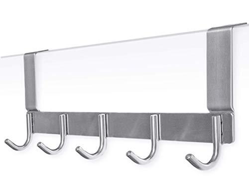 VAWIO Edelstahl Türgarderobe mit 5 Haken Türhängeleiste Kleiderhaken Türhaken Kleider Taschen Türhakenleiste Küche Wohnzimmer Flur Badezimmer -