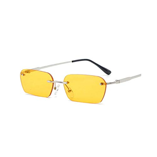 Sportbrillen, Angeln Golfbrille,Rimless Sunglasses Women Luxury Brand Designer Cat Eye Sun Glasses Men Vintage Retro Square Small Sunglass Black Yellow Multi Purple