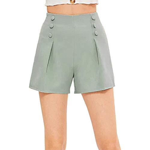 WOZOW Damen Shorts Kurze Hose Solid Einfarbig Double Breasted Casual Loose Lose Mini Hosen Freizeithose Stoffhose Slim A Line High Waist Falten Plissee Weites Bein Trousers (M,Minzgrün) -