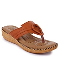 Style Panda A-123, Tan Doctor Sole Comfortable Slippers for Women