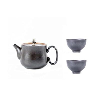 Black Temptation Pot de thé de Style Japonais en céramique thé Chinois Kung Fu Set théière Noir (avec 2 Tasses)