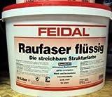 Feidal Raufaser flüssig / 5 Liter / weiss / matt / Wand- u. Deckenfarbe mit dekorativen Raufasereffekt, zum Rollen und Spritzen / waschbeständig, lösemittelfrei, / ideal auch um auf Untergründe kleine Unebenheiten zu kaschieren