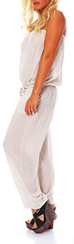 malito Damen Einteiler in Uni Farben | Overall mit Stoffgürtel | Jumpsuit