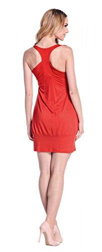 Happy Mama Donna prémaman vestito elasticizzato fondo a palloncino 024p Rosso
