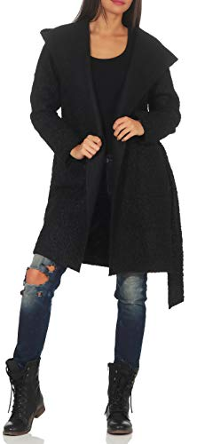 Malito Damen Wollmantel kurz | Boucle Wool | Trenchcoat mit Kapuze | weicher Dufflecoat | Parka - Jacke 9320 (schwarz) Kurzer Wollmantel