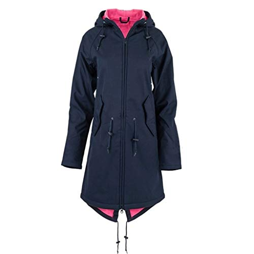 Rikay New Tops Clothes Womens Solid Rain Jacket Coats for Ladies Outdoor Plus Waterproof Windproof Raincoat Size 10-24 Navy