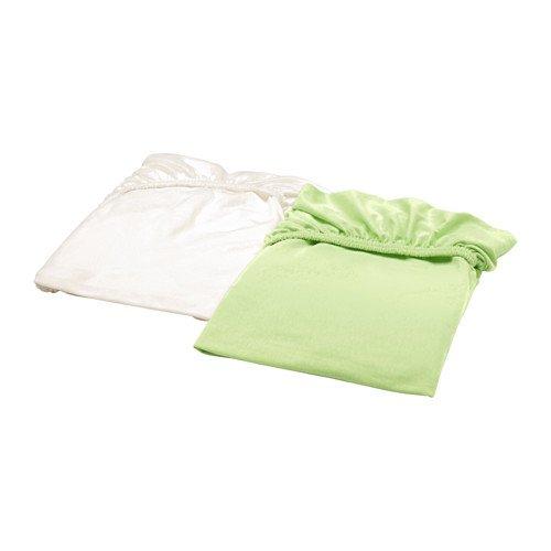 IKEA LEN Spannbettlaken für Babybett; in weiß und grün; 100% Baumwolle; (60x120cm); 2 Stück …