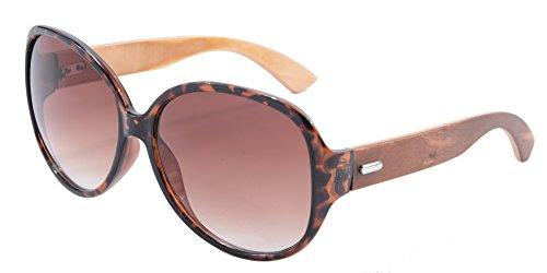 SHINU Reiten Radfahren Sonnenbrillen Bambusrahmen Sports übergroße Sonnenbrille-6101 (leopard gradient brown) Lb7MfT