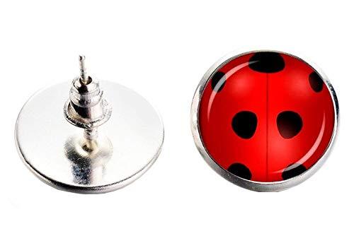 Mädchen ohrringe - Mädchenohrringe - Damen - Frauen - Yo Yo - Marienkäfer - Ladybug - Pois - Schraubverschluss - Rote farbe (Marienkäfer Jugendlichen Kostüm)