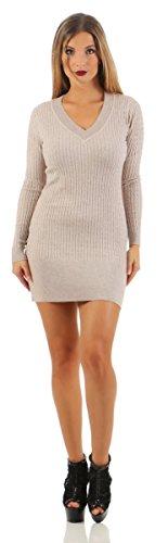 5284 Fashion4Young Damen Strick Kleid Feinstrick Minikleid Strickkleid Pullover V-Ausschnitt Damenstrickkleid (L/XL=38/40, beige) (Feinstrick-kleid)
