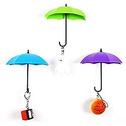 TrifyCore, appendini da parete a forma di ombrelli colorati, autoadesivi, rimovibili, portaoggetti, portachiavi 3D, adesivi da parete (colore casuale), 3pezzi