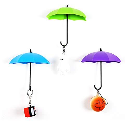 TrifyCore 3 Stück Abnehmbarer Regenschirm Farbe in Form von Wandaufh?ngern Selbstklebend Lagerung Schlüssel 3D Haken Wandetikett (zuf?llige Farbe)