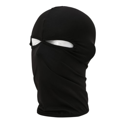 FENTI Multifunktionen Gesichtsmaske aus Lycra 2 Loecher Sport Balaclava Einfarbige Maske Warm Fahrrad Ski Snowboard Schwarz (Kalten Kopf Maske)