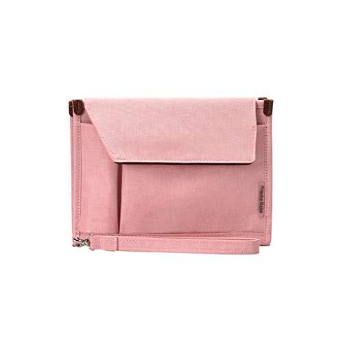 Timlatte Mehrere Lagen übertragbare ID-Karte Kreditkarten Handtasche Wasserdichte Oxford Cloth Notebook Mini Tablet Reisetasche Rosa 240 * 185 * 5.7mm (Rosa Aktenkoffer)