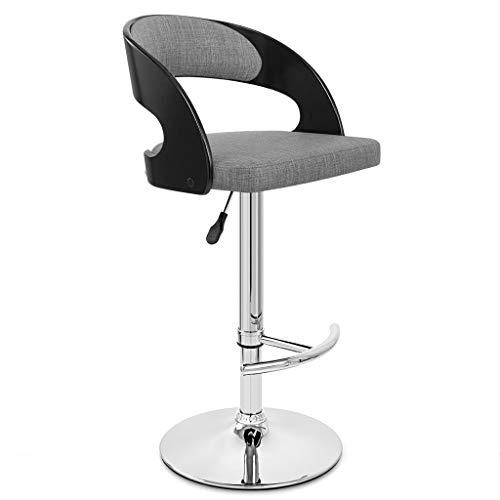 WYDM Barhocker kann gedreht Werden Mode kreative barhocker sessellift dreh barstuhl Mode leinen massivholz hohen hocker (58-80 cm) (Farbe : Black-Light Gray)