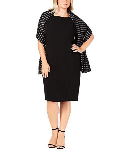 Calvin Klein Pleated Metallic Stripe Evening Wrap (Black, One Size) Calvin Klein-wrap
