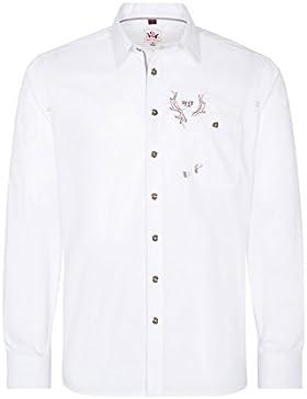 Herren Trachtenhemd Weiß Langarm mit Stickerei