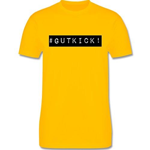Sprüche - Gut Kick - L190 - Premium Männer Herren T-Shirt mit Rundhalsausschnitt Gelb