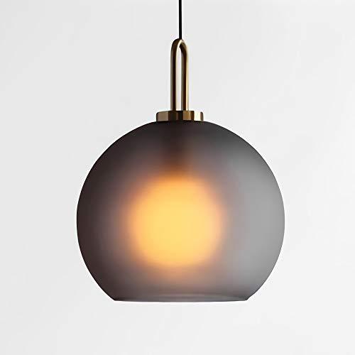 Runde Glas Pendelleuchte LED Moderne Einfaches Hängleuchte Grau Dekoration Hängend Leuchte Esszimmer Wohnzimmer Glaskugel Lampe Schlafzimmer Flur Küche Pendel Beleuchtung, 30cm -