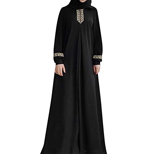 992b1a3c2bf32 Women Dress Sunday77 Loose Muslim Plus Size Floor-Length Evening Party  Beach Cocktail Casual Black