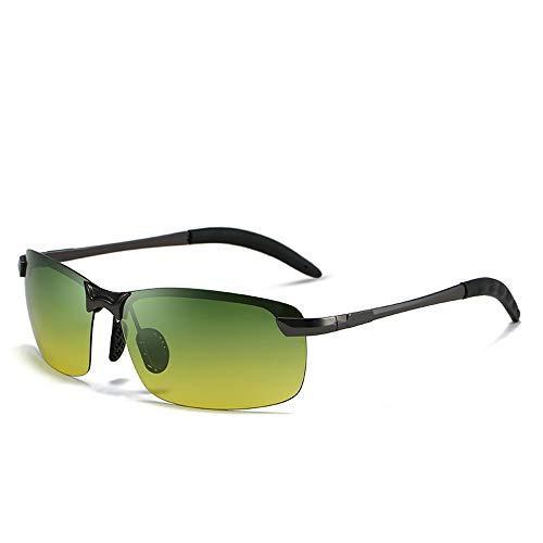 Easy Go Shopping Nachtsichtbrille Anti-UV Anti-Glare Anti-Fernlicht-Sonnenbrille Tag und Nacht polarisierte Sonnenbrille Sonnenbrillen und Flacher Spiegel (Color : Grau, Size : Kostenlos)