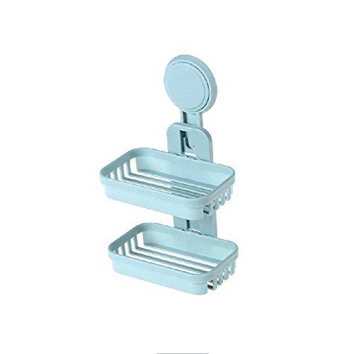 CWAIXX Toilette spielen doppelt Seifenkiste aus dem Saug Abfluss Loch an der Wand befestigte Seife Teller Bad Seife stehen Seifenschale, - Wand Stehen Teller