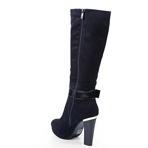 Ideal Shoes–Stiefel Effekt Wildleder Einer geschmackvollen Lochkoppel lackiert Effekt Reptile Raquel Marineblau