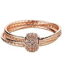 Yiyue 925 Señoras Señores Elegantes Elegante Anillo Anillo Oro Rosa El Viento Frío Dedo del Anillo