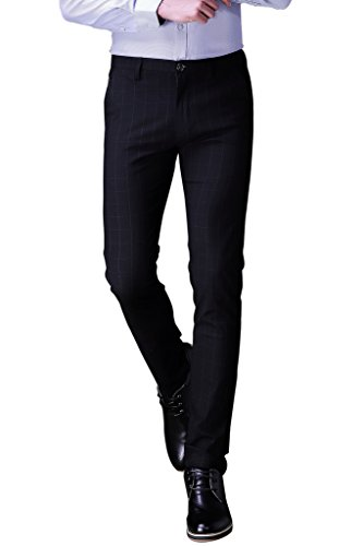 Harrms Herren Anzughose Slim fit Straight Leg Business Hose Pants Kariert Festlich Blau