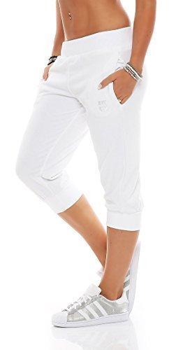 Gennadi Hoppe Damen 3/4 Trainingshose Sporthose kurze Hose Sport Fitness Jogginghose Shorts Barmuda, weiß ,M