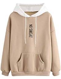 b706165ac557 ZYUEER Sweat à Capuche Femmes Printemps Automne Hiver Sweat-Shirt Manteau  Veste Lettre Hoodie Pullover