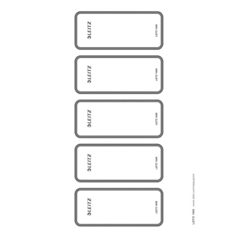 Leitz PC Printable Self Adhesive Spine Labels for Leitz Wow, Leitz Active Wow, Style, Urban Chic and Active Solid 80 mm Lever Arch Files, Wide and Short, 46 x 111 mm, Paper, 16920085 - Light Grey, Pack of 50,