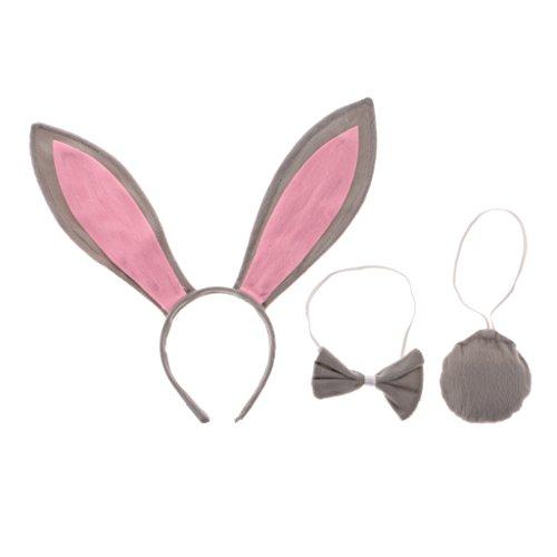 Gazechimp Karneval Halloween Kostüm Set Häschen Bunny Ohren Schwanz Fliege Set - (Ein Bunny Für Halloween Kostüm)