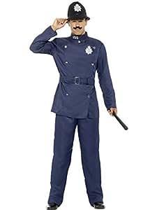 Luxuspiraten - Herren Männer Englischer Londoner Bobby Polizei Polizist Retro Kostüm mit Hose Jacke und Hut, perfekt für Karneval, Fasching und Fastnacht, M, Blau